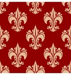 Seamless heraldic fleur-de-lis floral pattern vector
