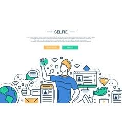 Sellfie - line design website banner vector image
