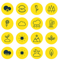 Set 16 nature icons includes plant love vector