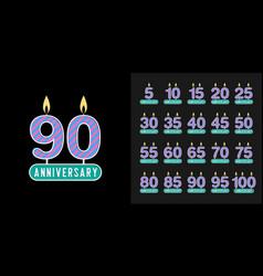 set anniversary logotype anniversary vector image