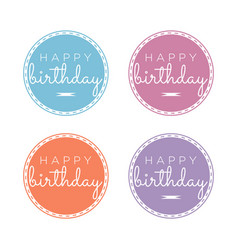 set of happy birthday greeting emblems vector image