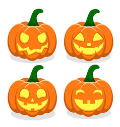 set of pumpkins with faces on a white vector image