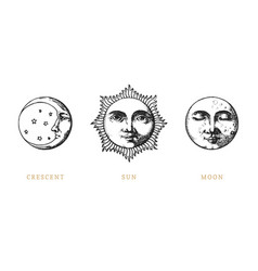 Set of sun moon and crescent hand drawn vector