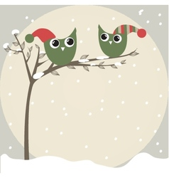 simple card of two funny cartoon owls with vector image