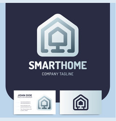 smart or technology home logo in line style vector image