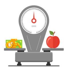 Spending money on groceries balance price vector