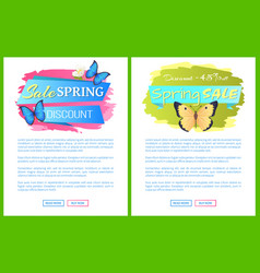 spring sale posters set discount color butterflies vector image