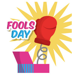 surprise prank box with glove fools day vector image