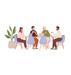 team people sitting at desk with laptops vector image