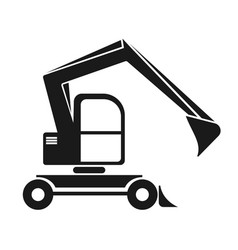 the black silhouette of an excavator with a dipper vector image