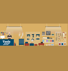 Tools shop banner with instruments vector