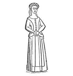 Typical of the female dress vintage engraving vector