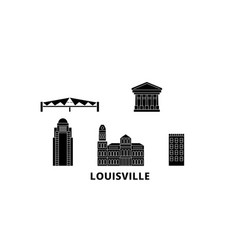 United states louisville flat travel skyline set vector