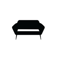 upholstered sofa or couch black silhouette icon vector image