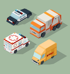 urban cars isometric garbage truck mail van vector image