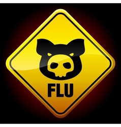 warning h1n1 sign vector image