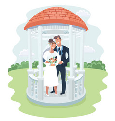 Wedding gazebo with bride and groom vector