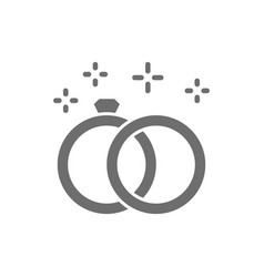wedding rings grey icon isolated on white vector image