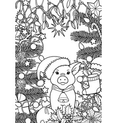 winter holiday coloring page with pig symbol 2019 vector image
