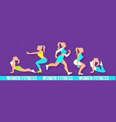 Workout fitness girl set 3d paper art heath vector