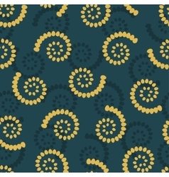 Yellow swirls on green background seamless pattern vector image