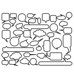 blank empty speech bubble outline controur set vector image
