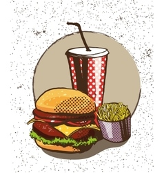 Fast food poster in retro pop art style vector image