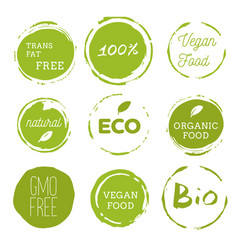 healthy food icons labels organic tags natural vector image