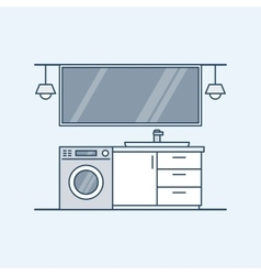 Modern interior of a bathroom with washing machine vector image