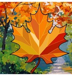 orange maple leaf on autumn background vector image vector image