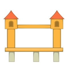 Bridge with towers icon cartoon style vector image