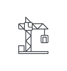 building crane thin line icon linear vector image vector image