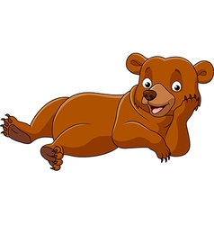 Cartoon bear lazy isolated on white background vector image vector image