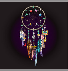 hand drawn ornate dreamcatcher with feathers vector image