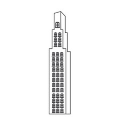 monochrome contour with building skyscraper vector image