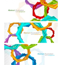 set of banners with hexagon vector image vector image