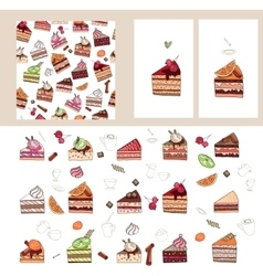 Set with different fruit cake slices vector image vector image