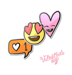 valentines day stickers love emoji icons vector image