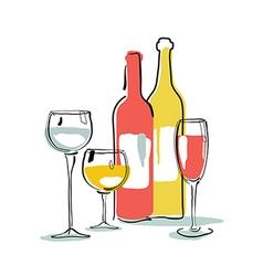 Wine bottle glass silhouette vector image vector image