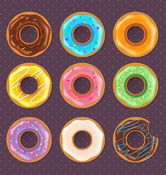 Colorful donuts sweet set vector image