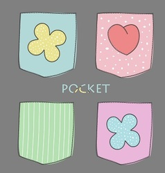 Four coloured pocket with heart and flower vector