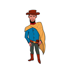 happy cowboy cartoon character vector image