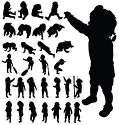 Baby cute posing black silhouette vector