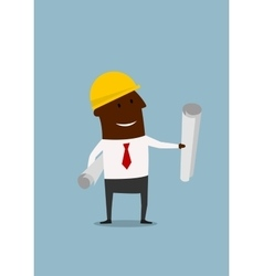 Cartoon engineer or builder with blueprints vector image vector image