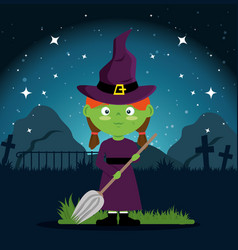 cute witch halloween cartoon vector image