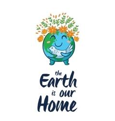 Earth globe cartoon card vector