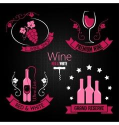 wine glass bottle label set vector image vector image