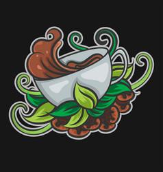 A cup coffee emblem vector