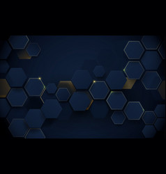 Abstract luxury dark blue and gold hexagons vector