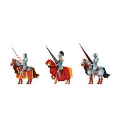 Armored medieval knight or cavalryman sitting vector